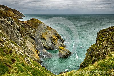 Amazing seashore landscape in Ireland with cliffs and sea at Howth