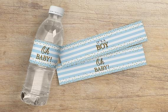"""20 Baby Shower Sprinkle Water Bottle Labels 4/""""x 2/"""" Party Favor It/'s A Girl!"""