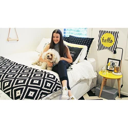 This teenager had outgrown her cluttered room so she set about creating a cool black and white retreat. See the amazing before and after photos.
