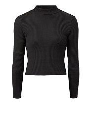 Black Ribbed High Neck Top | New Look