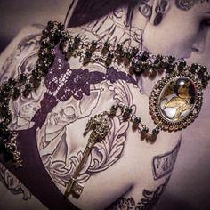 Chapelet rosaire perles noires hématite camée mexican sugar skulls calavera gypsy bohème ♰tattooed white snow♰