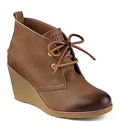 """Sperry Women's Harlow Burnished Leather Wedge Bootie"" -Someone buy me these...please!!"