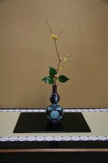 茶花(Chabana) / 加賀絞八朔椿 蠟梅  HYOTAN shaped container.