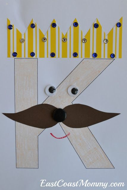"K is for ""King""... and more. Adorable letter K crafts!"