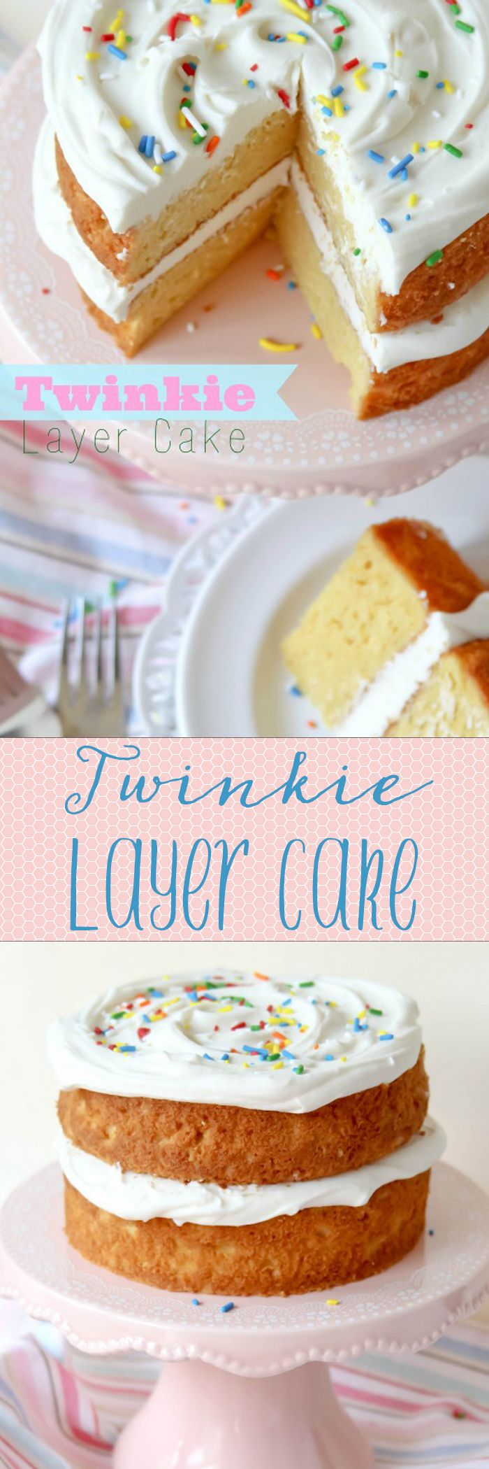 Twinkie Layer Cake -- like eating a GIANT TWINKIE!!! Always a crowd favorite and one of my most popular recipes.