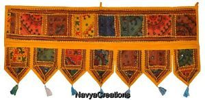 Vintage Indian Cotton Embroidered Window Valance Topper Toran Decor Door Hanging .