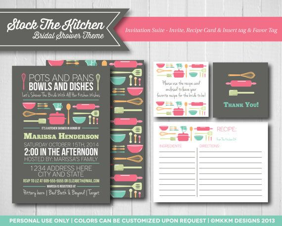 stock the kitchen bridal shower invitation suite by mkkmdesigns invite recipe cards favor - Kitchen Shower Ideas