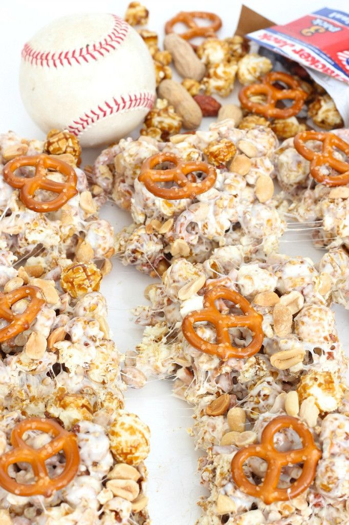 Ballpark Bars - gooey chewy marshmallow bars packed with pretzels, peanuts and cracker jacks. They're a home run!