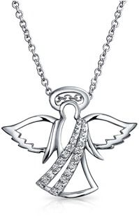 Bling Jewelry Guardian Angel Cz Pendant Sterling Silver Necklace 16 Inches.