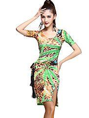 Robes(Vert / Rouge / Imprimé léopard,Rayonne,Danse latine)Danse latine- pourFemme Motif/Impression / Léopard Entraînement Danse latine