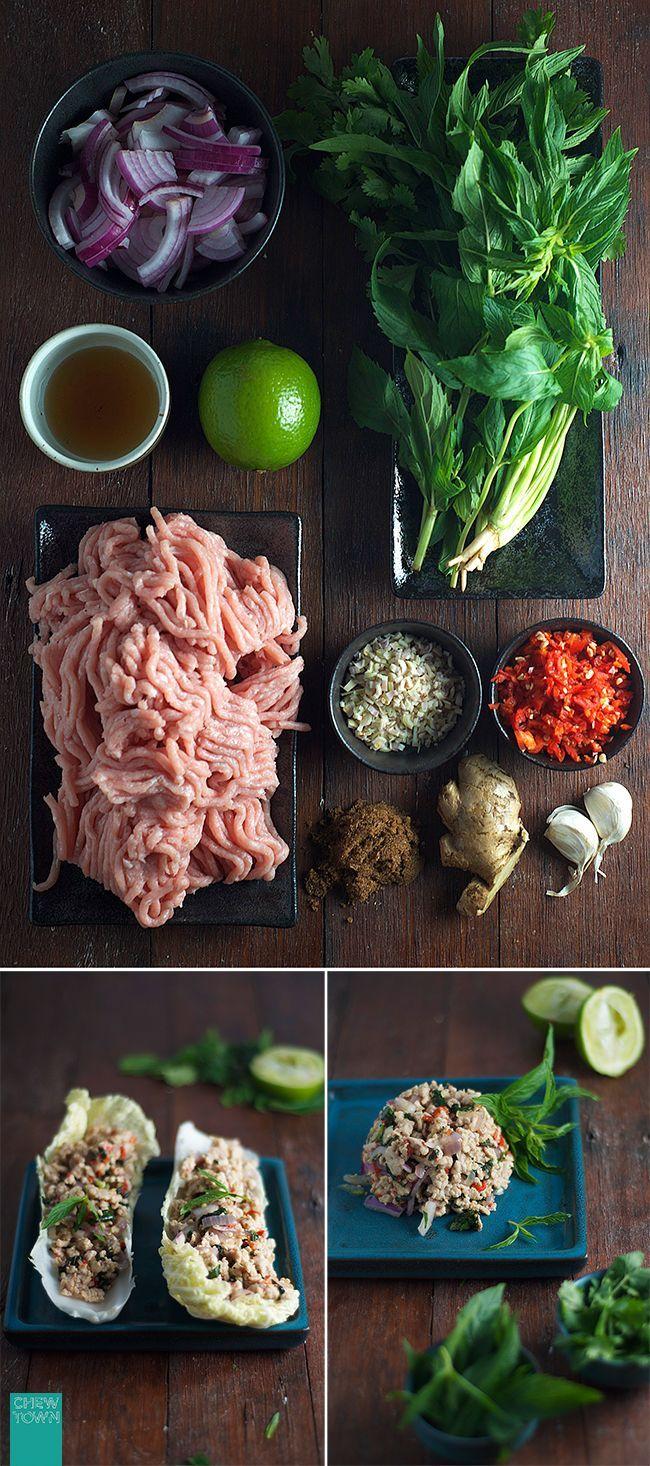 Authentic Larb Gai (Thai Chicken Salad) Recipe | Chew Town Food Blog, ,