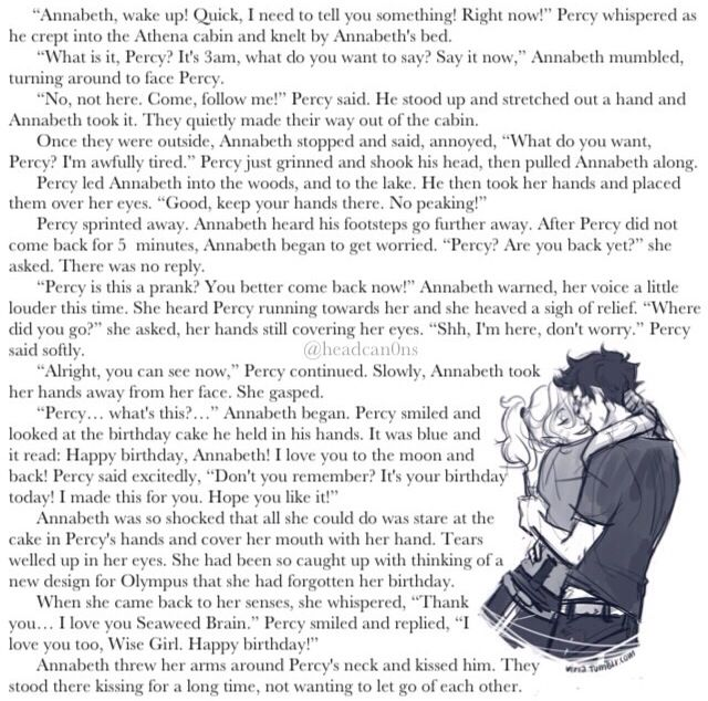 Percabeth percy Jackson annabeth chase headcanon otp Um what happened to the cake did Percy just drop it when Annabeth came to kiss him?