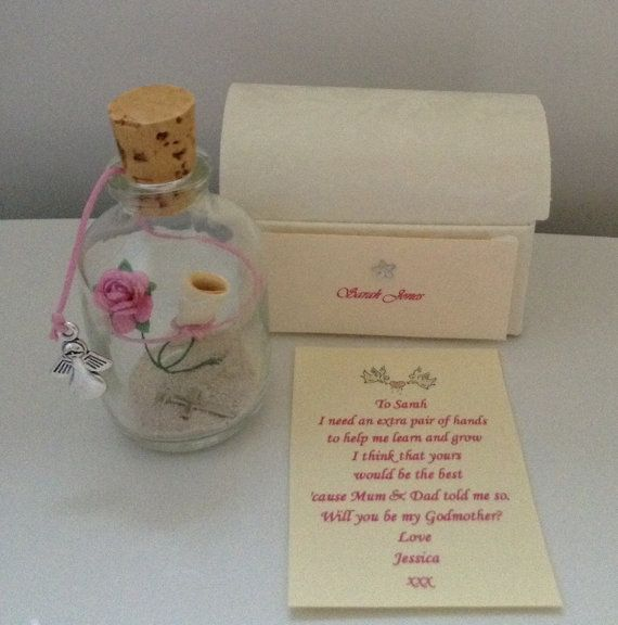 Personalised asking someone - will you be my godparents? message in a bottle treasure chest box gift present card poem