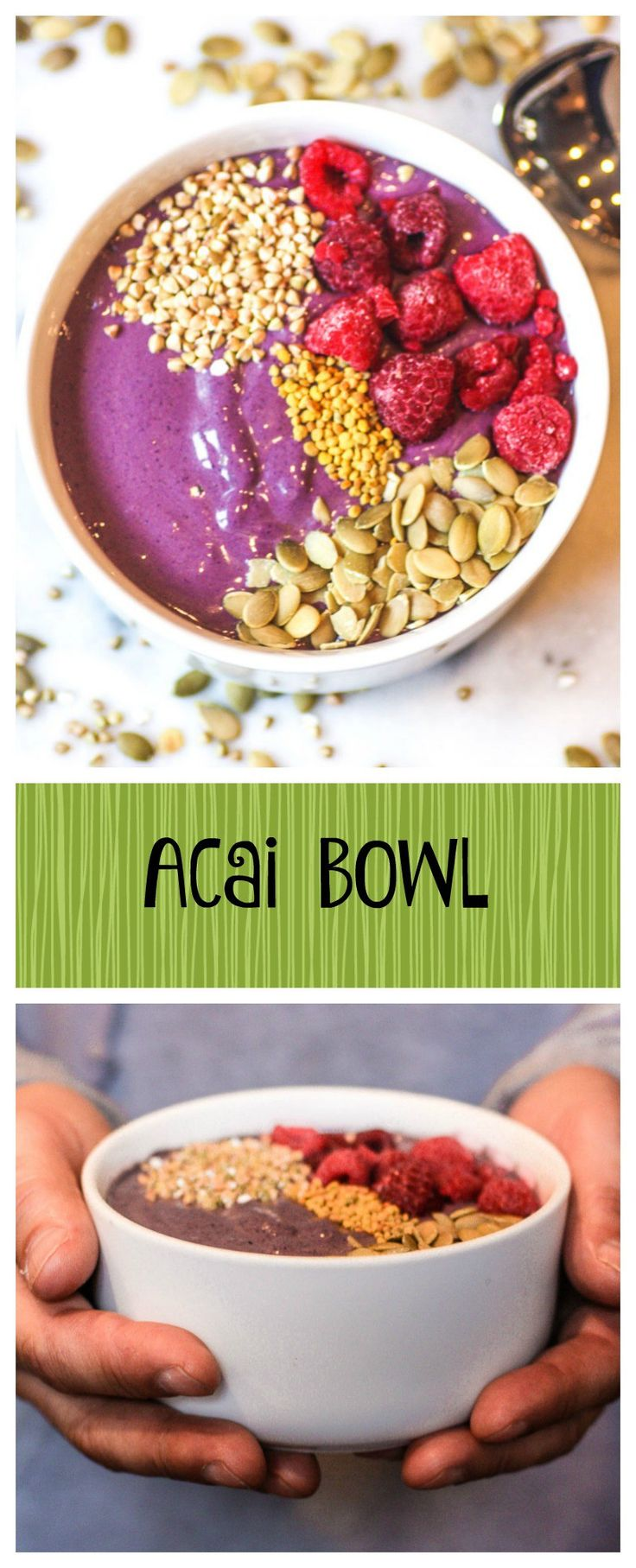 Acai Bowl.  It's amazing.  It's healthy.  It's easy.  It's healing.  You can feel the power as you eat it!  The superfoods recipe is just what the doctor ordered!