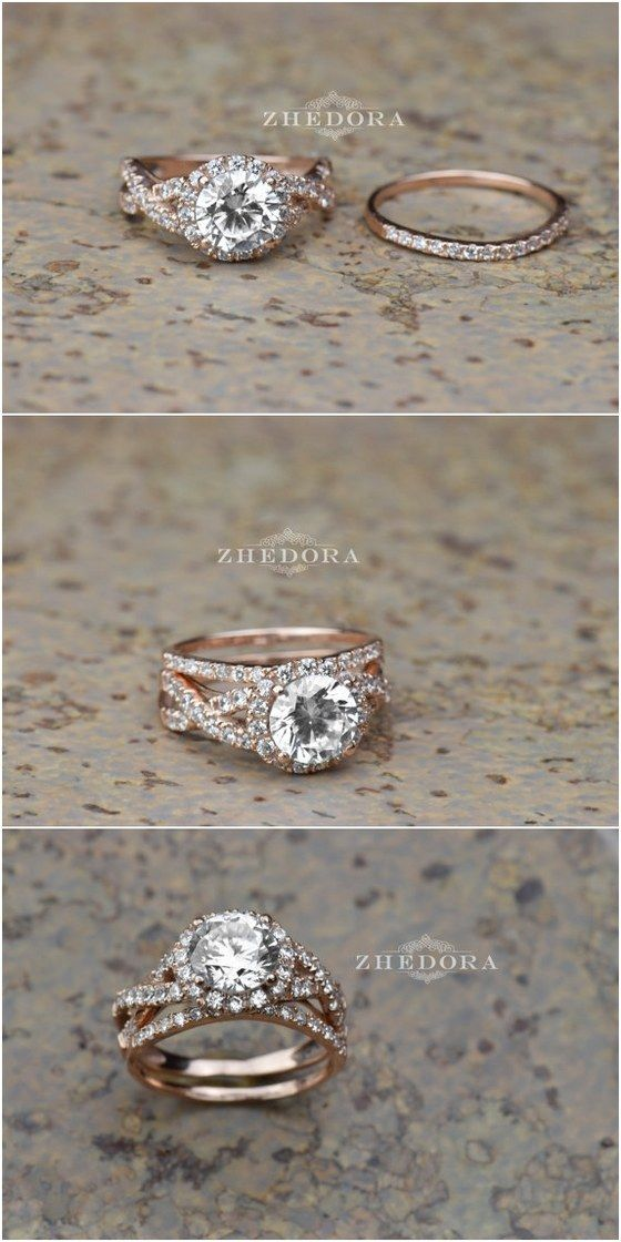 2.15 CT Round Cut Engagement Ring band set in Solid 14k or 18k Rose Gold Bridal, Wedding Set