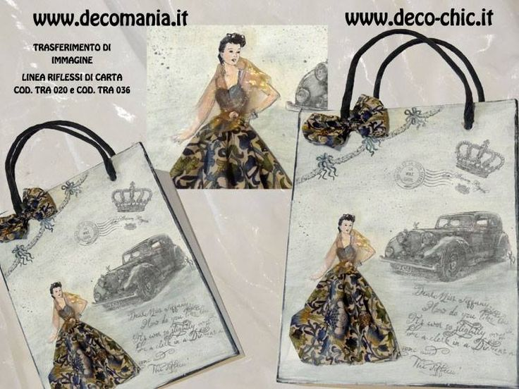 NOVITA' CARTE PER IL TRASFERIMENTO D'IMMAGINE: RIFLESSI DI CARTA SERIE 3 Divertiti anche tu a fare la stilista!!  www.deco-chic.it
