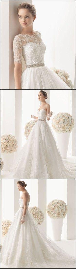 Free Lace Bolero !Elegant A Line lace Wedding Dresses 2015 Sweetheart Tulle Ruffles Beaded Waistband Court Train Bridal Gowns w189