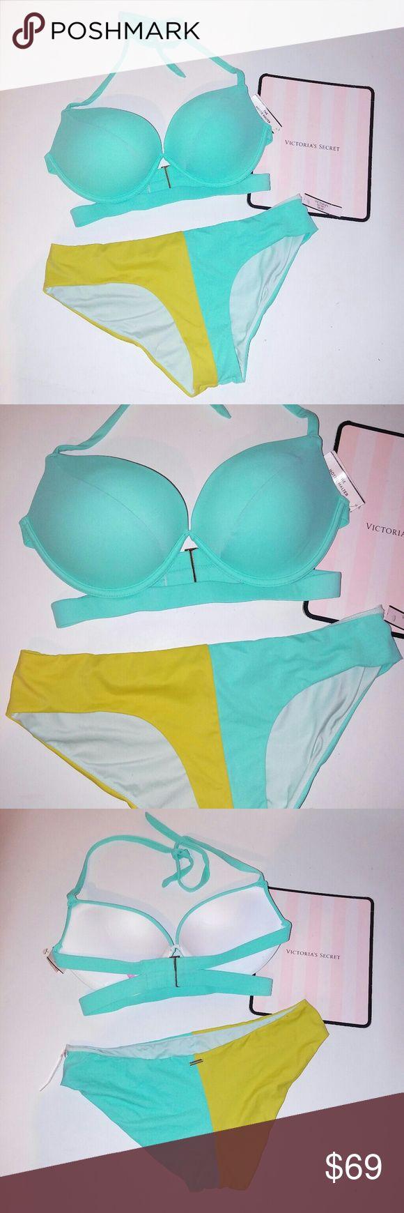 Victoria Secret Swim Suit Bikini Victoria Secret Swim Suit Bikini 34D top Medium bottom Hottie halter Seafoam Colorblock Push up New with tags Victoria's Secret Swim Bikinis