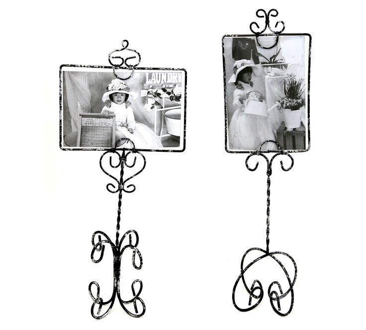 Black & Silver Wire Picture Frames - Set of 2