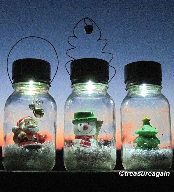 Solar Mason Jar Snow Globe Lights by treasureagain http://etsy.me/1ED1u4L