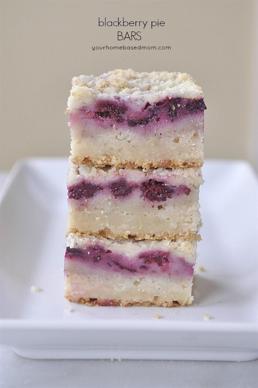 Blackberry Pie Bars. Yummy pie recipe in bar form. Must try this for dessert!