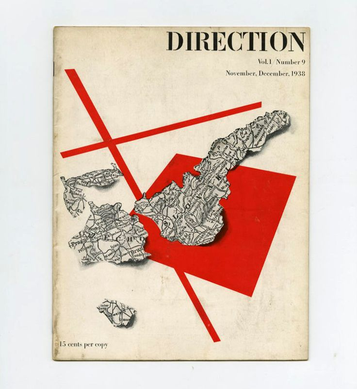 1938 Paul Rand cover design for DIRECTION mag. WPA Federal Arts Project MURALS