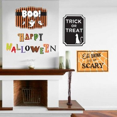 Our Happy Halloween Signs Wall Decal Kit is perfect for Halloween. This Kit includes 3 Halloween signs that measure 11 in x 16 in. and 14 Letters spelling out HAPPY HALLOWEEN