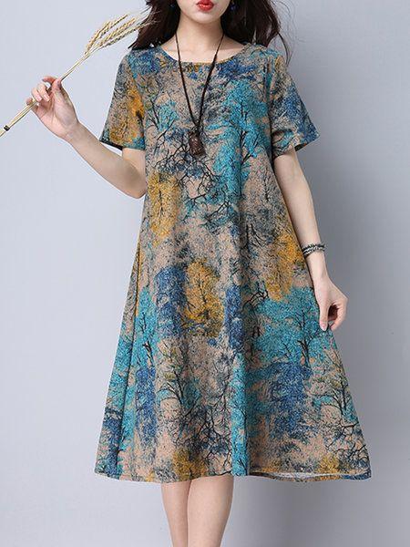Shop Casual Dresses - Blue Short Sleeve Abstract Linen Print Dress online. Discover unique designers fashion at JustFashionNow.com.