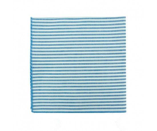 Pochette de costume à rayures bleu azur Pochette de costume à fines rayures bleu ciel Azur blue stripe pocket square                     Le Colonel Moutarde, hand made in France