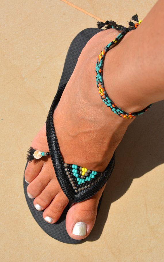 SALE Boho Anklet Bracelet & Black Havaianas Flip Flops, Anklet Foot Jewelry Sandals, Beach Sandals Hippie Chic  You can decorate your hands, ears, neck but also … your feet!  These are an absolutely unique Must Have Flip Flops with ONE anklet beaded bracelet. The combination between style and comfortable...  By decorating the flip flops I used professional jewelry techniques and the highest quality materials varying from japanese beads, sterling silver beads, stone beads, shells and other…
