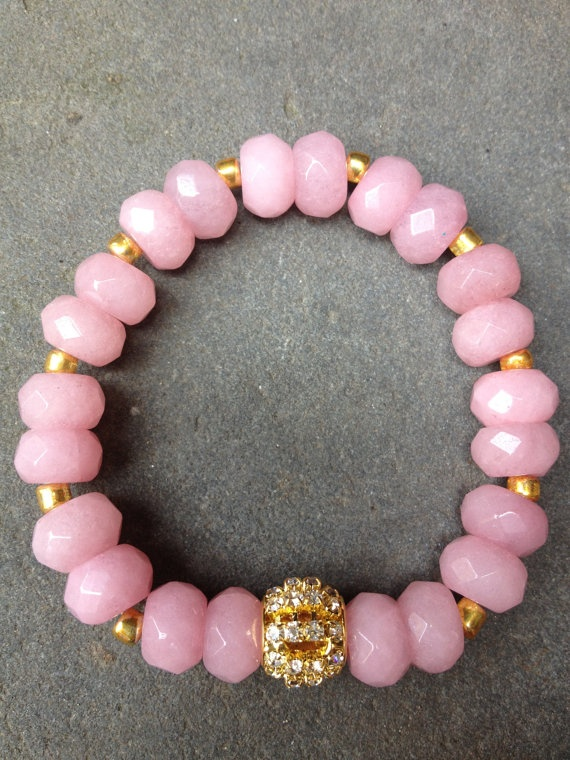 17 best elastic cord bracelet images on pinterest arm candies beautifully faceted large pink jade stones with gold spacers beads and a large rhinestone pave bead fandeluxe Images