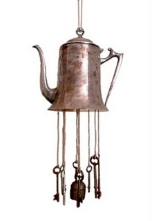 DIY - Teapot & Key Wind Chime - can also use old thriftstore silverware for the chimes :)