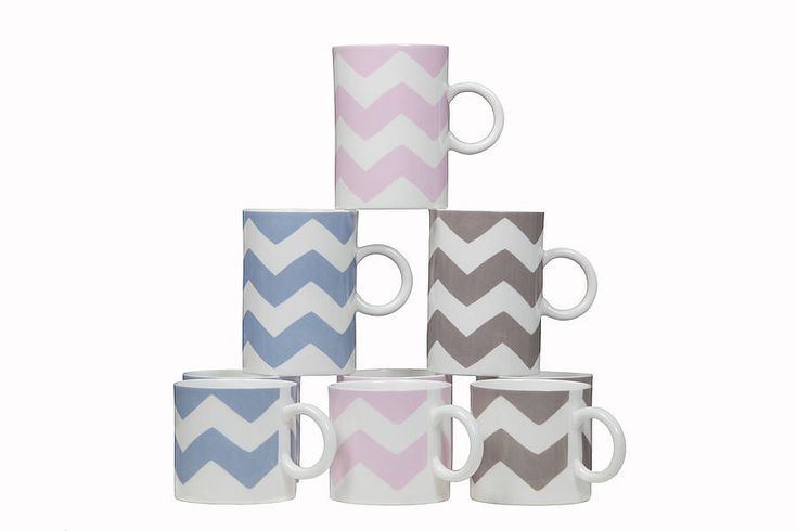 £15 Zig Zag Mugs Smart zig zag fine bone china cups and mugs all made in England.  They will make a lovely addition to any traditional or contemporary kitchen and come in 2 sizes – medium, perfect for coffee and large, perfect for tea. Handmade in England from fine bone china, suitable for dishwasher and microwave use.