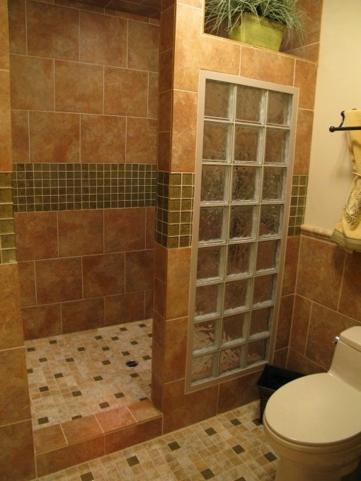 Master Bath Remodel With Open Walk In Shower For Empty Nesters   Bathroom  Designs   Decorating Ideas   HGTV Rate My Space Glass Block Is Old  Fashioned But I ...