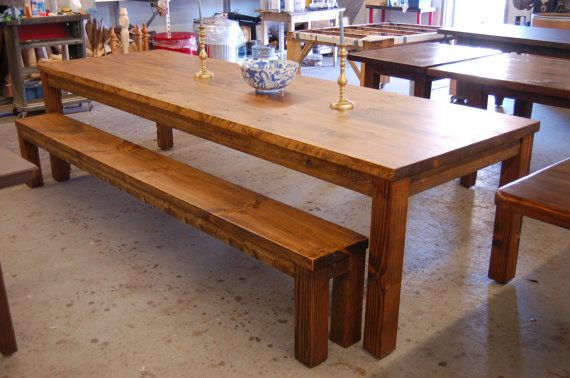 Farm Table: Parsons style old board table and bench - Farm Style Table With Storage Bench