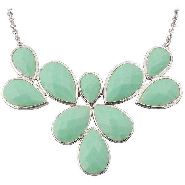 Amazon.com: Jane Stone Mint Statement Flower Necklace Fashion Bib... (91 CNY) ❤ liked on Polyvore featuring jewelry, necklaces, mint bib necklace, chunky stone necklace, flower bib necklace, wedding jewelry and stone jewelry