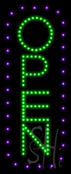 Open Vertical Purple Border and Green Letters Animated LED Sign