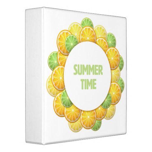 Summer time. Citrus frame 3 Ring Binder