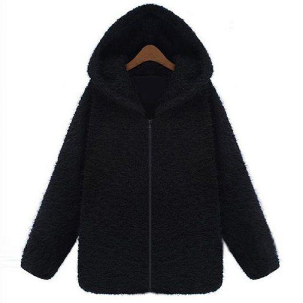$22.24 Stylish Hooded Long Sleeve Zip Design Women's Black Hoodie