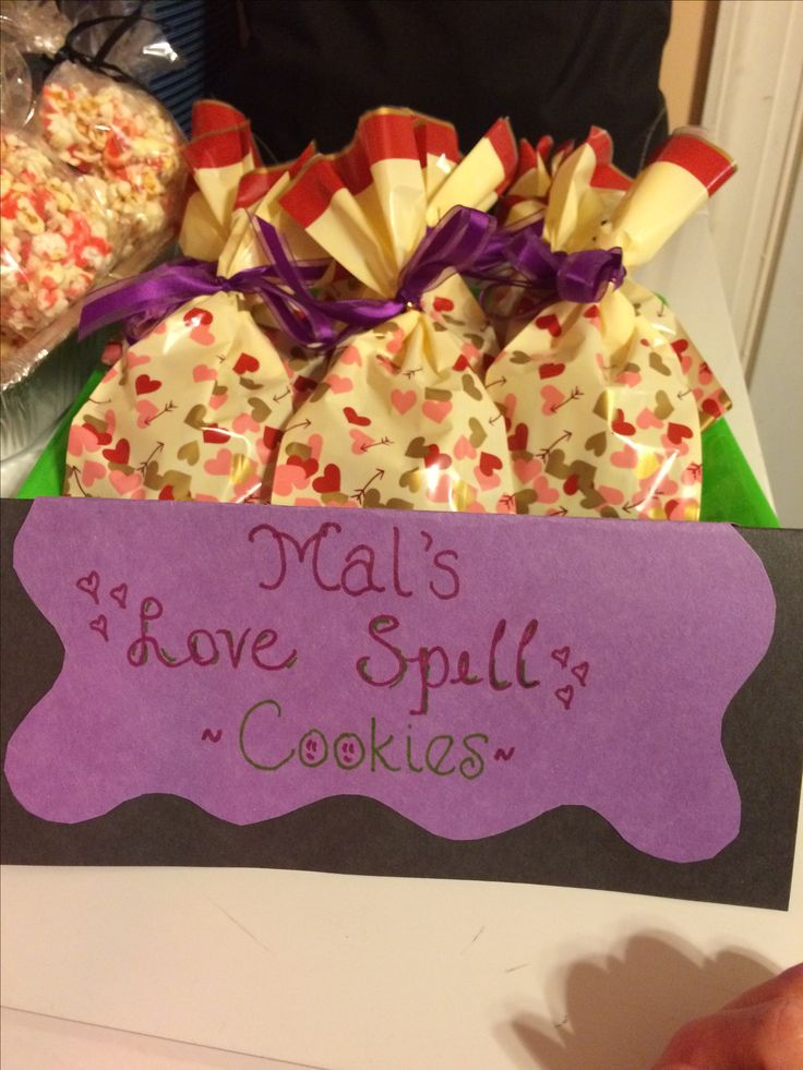 Favors for Disney Descendants party. We substituted pecans for the walnuts in Mal's Spell Cookies