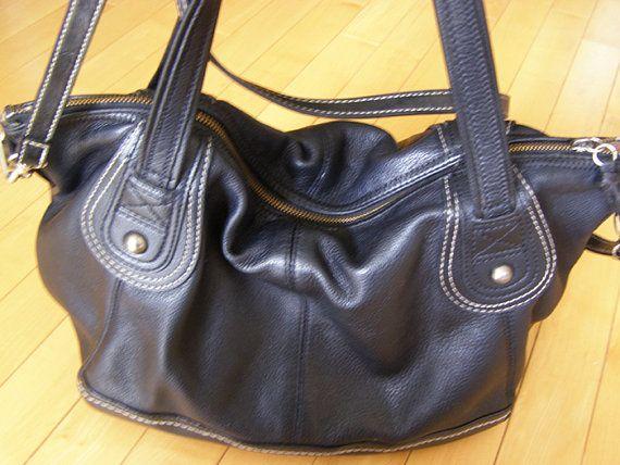 Vintage Genuine Black Leather Purse