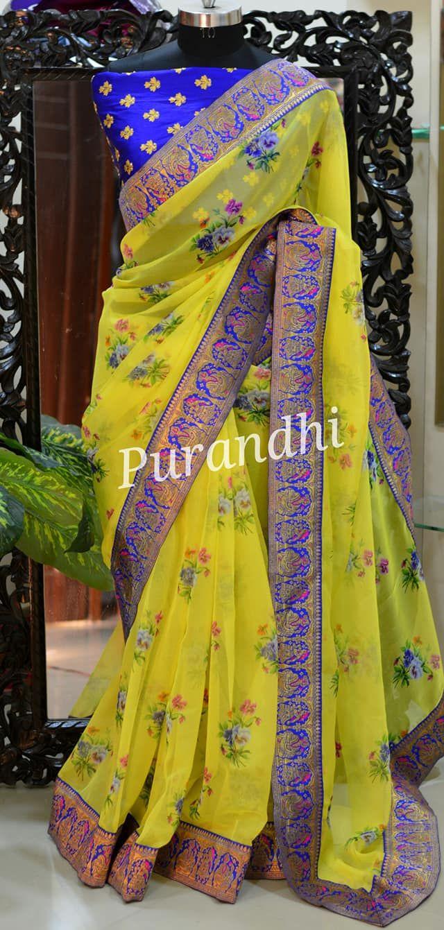 Lemon Yellow Pure Orgnaza saree finished with banarasi border. Blouse : Same as …