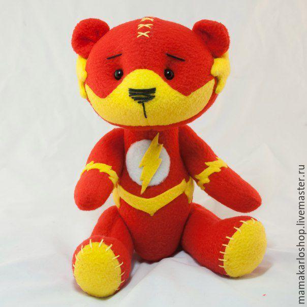 Купить Мишка Флэш - ярко-красный, мишка, игрушка ручной работы, мягкая игрушка, марвел