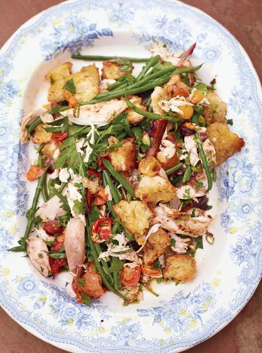 I had a dream that Jamie Oliver made me an epic roasted chicken crouton bacon salad thing and look, here it is! Ooof.