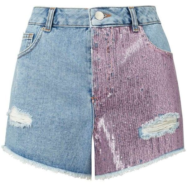 Miss Selfridge Pink Sequin Shorts (£54) ❤ liked on Polyvore featuring shorts, bottoms, mid blue, pink cotton shorts, blue cotton shorts, blue shorts, miss selfridge and sequined shorts