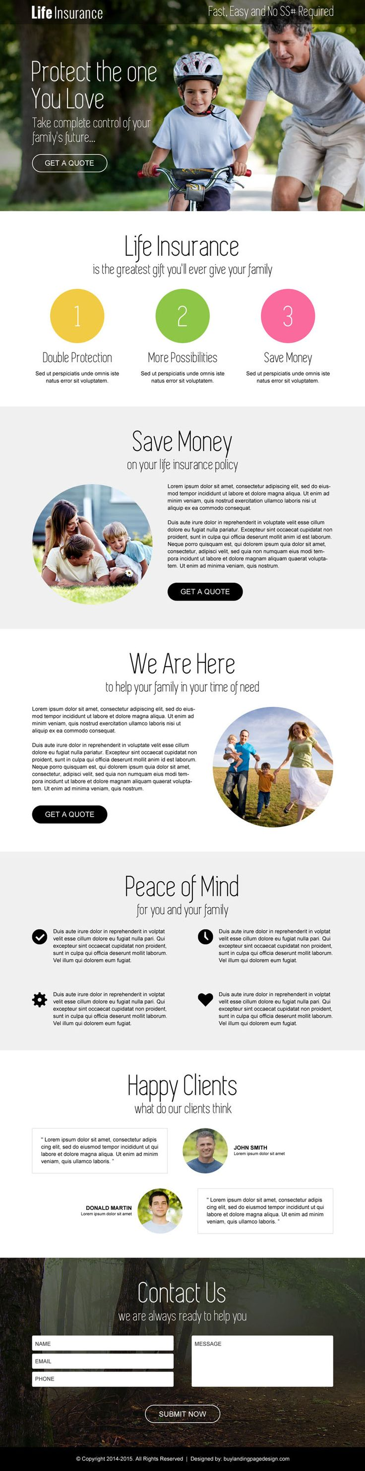 life-insurance-free-quote-service-lp-013 | Insurance landing page design preview. http://buff.ly/1B3Lhpi