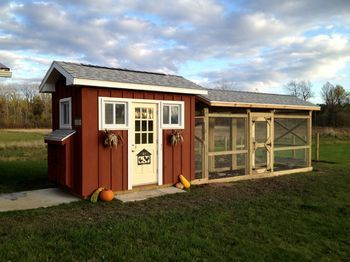 This coop looks amazing!!!   Would be too cute as the rooflines match the house!   The Nest Egg - BackYard Chickens Community
