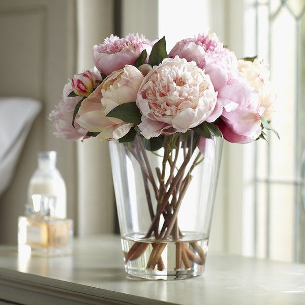 Faux Pink Peony Arrangement, Large | Lush with petals, this arrangement of faux peonies rests in a sparkling, filled glass vase. Hand-finished for lasting beauty.