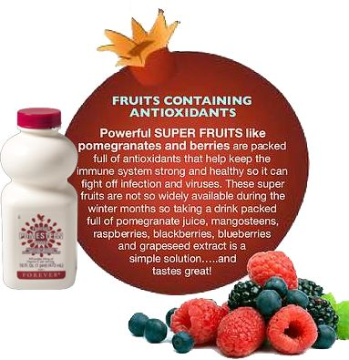 Powerful SUPER FRUITS like pomegranates & berries are packed full of antioxidants that help keep the immune system strong & healthy, so it can fight off infection & viruses. These super fruits are widely available during the winter months, so taking a drink packed full of pomegranate juice, mangosteens, raspberries, blueberries, blackberries & grapeseed extract is a the solution & taste grate. http://www.healeraloe.flp.com