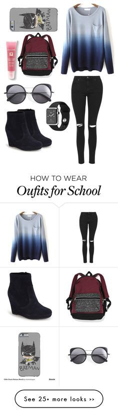 """""""school :)"""" by melody57 on Polyvore featuring Topshop, Vince Camuto, Wood Wood, Lancôme and Victoria's Secret"""